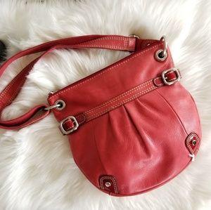 Vintage Fossil RED Crossbody Handbag